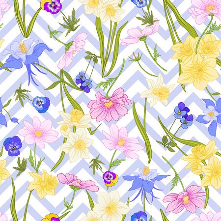 Modèle sans couture avec jonquilles, anémones, violettes en style vintage botanique avec décor rococo sur fond de rayures bleues et blanches. Illustration vectorielle de ligne de stock. Banque d'images - 85899618