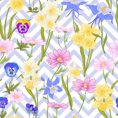 Modèle sans couture avec jonquilles, anémones, violettes en style vintage botanique avec décor rococo sur fond de rayures bleues et blanches. Illustration vectorielle de ligne de stock. Banque d'images - 85899619
