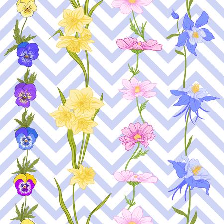Modèle sans couture avec jonquilles, anémones, violettes en style vintage botanique avec décor rococo sur fond de rayures bleues et blanches. Illustration vectorielle de ligne de stock. Banque d'images - 85899620