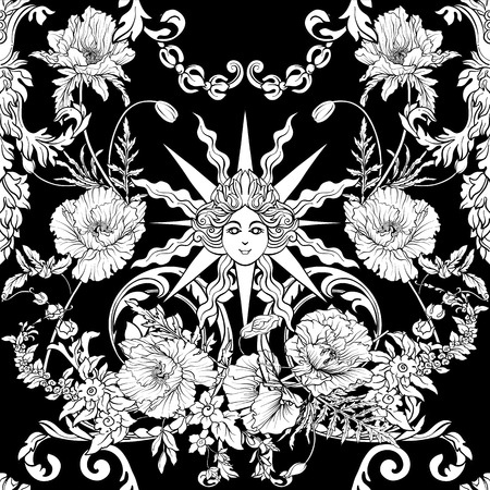 Seamless pattern with daffodils, anemones, violets in botanical vintage style with rococo decor in white and black colors. Stock line vector illustration. Stock Vector - 85899621