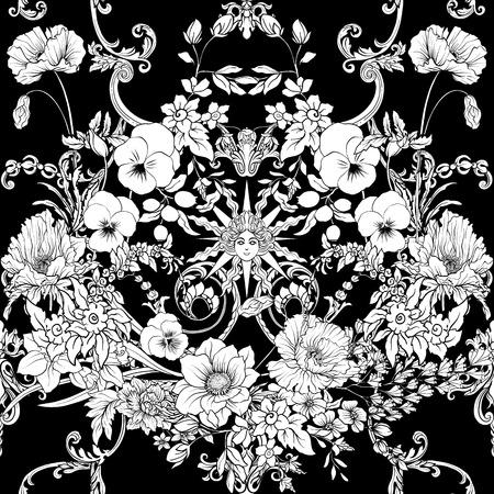 Modèle sans couture avec des jonquilles, des anémones, des violettes dans un style vintage botanique avec un décor rococo dans les couleurs blanches et noires. Illustration vectorielle de stock ligne. Banque d'images - 85899622