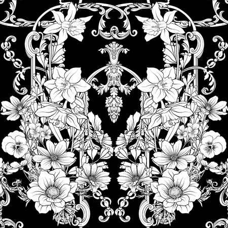 Seamless pattern with daffodils, anemones, violets in botanical vintage style with rococo decor in white and black colors. Stock line vector illustration.