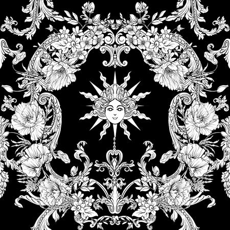 Naadloos patroon met gele narcissen, anemonen, viooltjes in botanische vintage stijl met rococo-decor in witte en zwarte kleuren. Voorraad regel vector illustratie.
