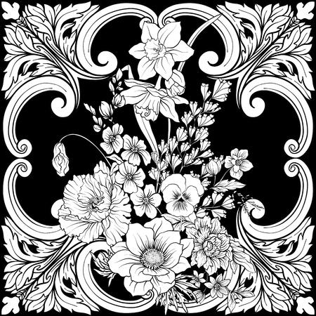 Modèle sans couture avec des jonquilles, des anémones, des violettes dans un style vintage botanique avec un décor rococo dans les couleurs blanches et noires. Illustration vectorielle de stock ligne. Banque d'images - 85899625