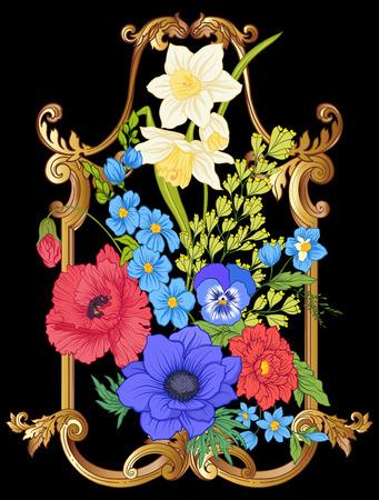Summer flowers: poppy, daffodil, anemone, violet, in botanical s