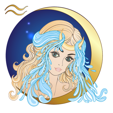 zodiac aquarius: Aquarius. A young beautiful girl In the form of one of the signs
