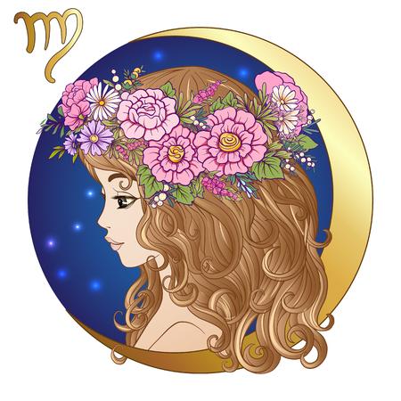 Maagd. Een jonge mooie meid in de vorm van een van de tekenen van Vector Illustratie
