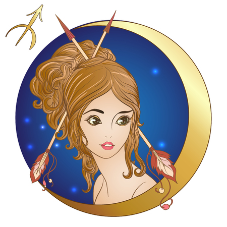 Sagittarius. A young beautiful girl In the form of one of the si Illusztráció