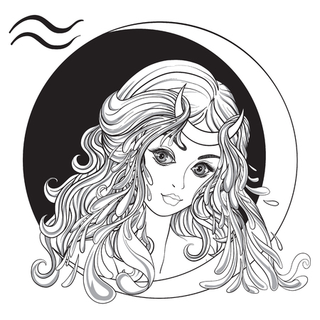 zodiac aquarius: Aquarius. A young beautiful girl In the form of one of the signs of the zodiac. Black and white stock vector illustration.