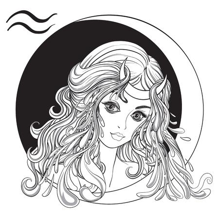 Waterman. Een jong mooi meisje in de vorm van een van de tekens van de dierenriem. Zwart en wit voorraad vectorillustratie.