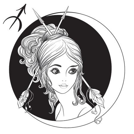 Boogschutter. Een jong mooi meisje in de vorm van een van de tekens van de dierenriem. Zwart en wit voorraad vectorillustratie. Stock Illustratie