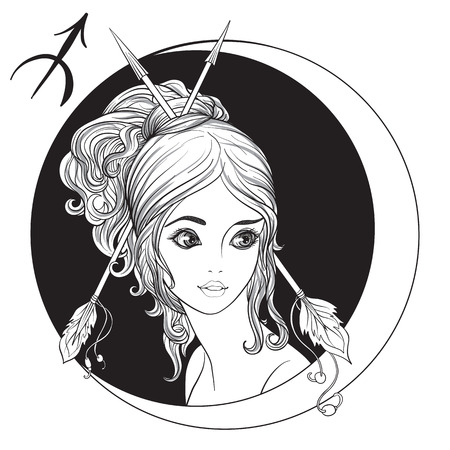 Sagittarius. A young beautiful girl In the form of one of the signs of the zodiac. Black and white stock vector illustration.