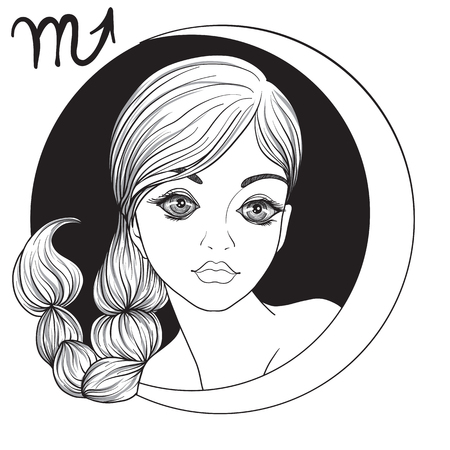 Scorpio. A young beautiful girl In the form of one of the signs of the zodiac. Black and white stock vector illustration. Ilustracja