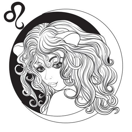 レオ。美しい少女が、十二支の兆候の 1 つの形で。黒と白の株式ベクトル図です。