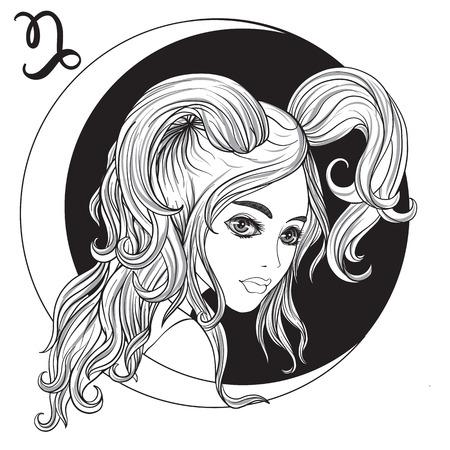 やぎ座。美しい少女が、十二支の兆候の 1 つの形で。黒と白の株式ベクトル図です。  イラスト・ベクター素材