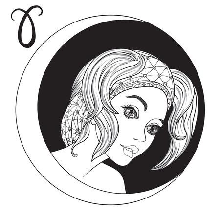 牡羊座。美しい少女が、十二支の兆候の 1 つの形で。黒と白の株式ベクトル図です。  イラスト・ベクター素材