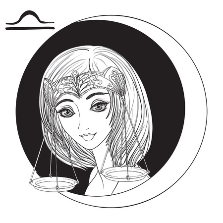 Weegschaal. Een jong mooi meisje in de vorm van een van de tekens van de dierenriem. Zwart en wit voorraad vectorillustratie.