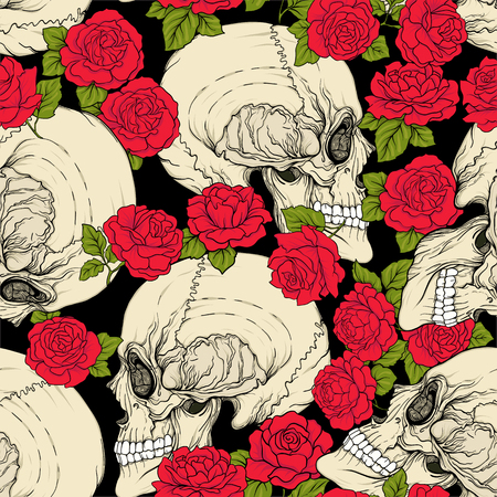 Seamless pattern, background with skull and red roses. Stock vector illustration.