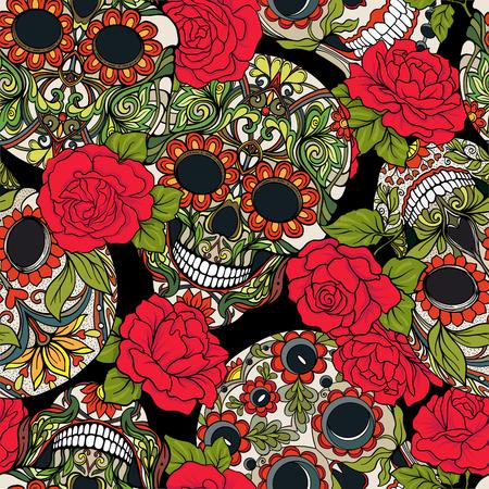 シュガー スカルと赤のバラと背景のシームレスなパターン。株式ベクトル イラスト。  イラスト・ベクター素材