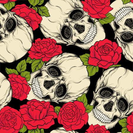頭蓋骨と赤のバラと背景のシームレスなパターン。株式ベクトル イラスト。