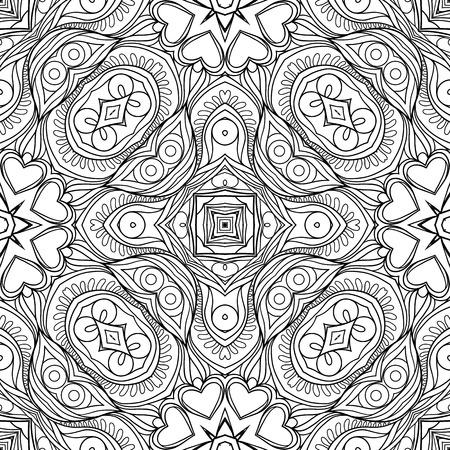 원활한 패턴, 형상 꽃 추상 패턴으로 배경입니다. 주식 라인 벡터 일러스트 레이 션. 성인 색칠 공부를위한 손 그리기 착색 페이지 개요. 일러스트