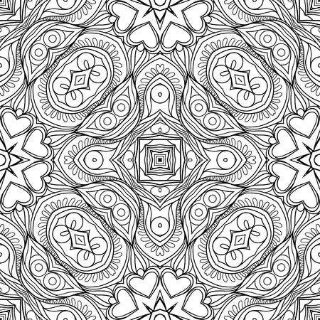 Seamless pattern, background with geometric floral abstract pattern. Stock line vector illustration. Outline hand drawing coloring page for adult coloring book. Illustration