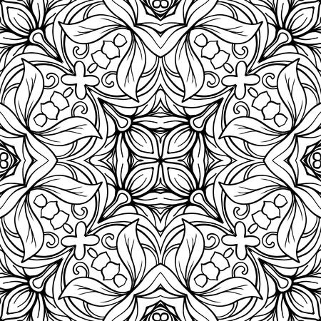 Naadloos patroon, achtergrond met geometrisch bloemen abstract patroon. Voorraad regel vector illustratie. Overzichtstekening kleurplaat voor volwassen kleurboek.