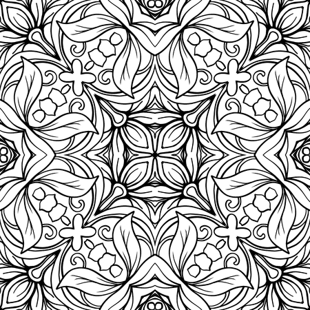 Seamless pattern, background with geometric floral abstract pattern. Stock line vector illustration. Outline hand drawing coloring page for adult coloring book. Фото со стока - 85995026