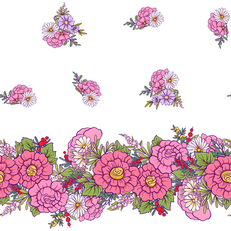 Floral seamless pattern with butterflies  Stock line vector illustration. On white background.