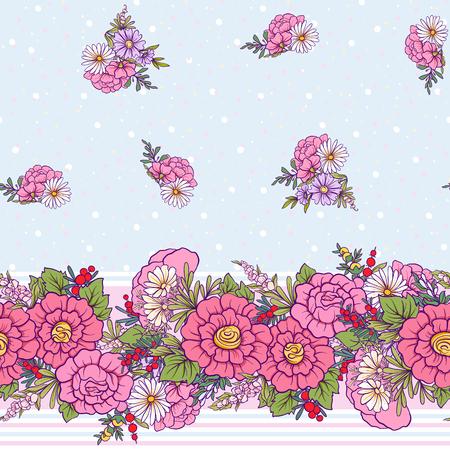 Bloemen naadloos patroon met vlinders Voorraadlijn vectorillustratie. Op witte en blauwe strepenachtergrond.