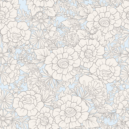 Floral seamless pattern with butterflies. Stock vector illustration. In vintage blue colors Illustration