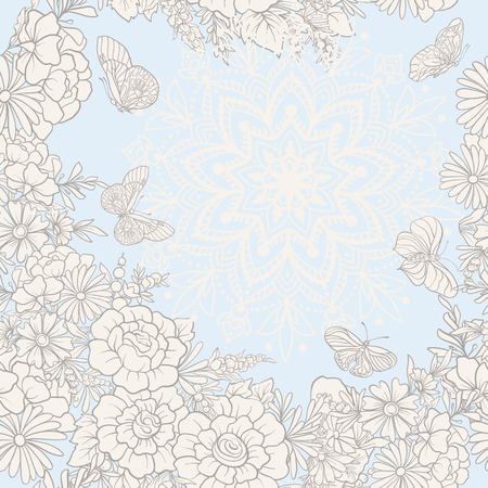 Floral seamless pattern with butterflies. Stock vector illustration. In vintage blue colors 向量圖像