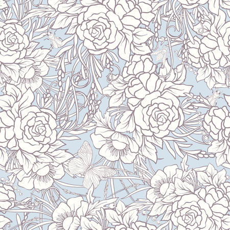 Floral seamless pattern with butterflies Ilustração