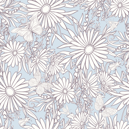 Floral seamless pattern with butterflies Çizim