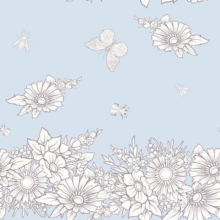 蝶と花のシームレス パターン