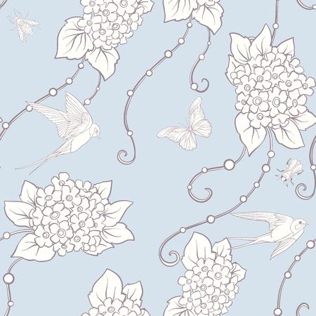 나비와 꽃 원활한 패턴