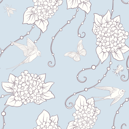 Floral seamless pattern with butterflies Stock Vector - 85995057
