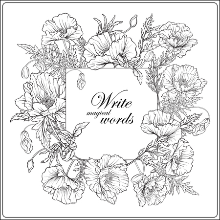 Card with poppies Outline hand drawing coloring page for adult c
