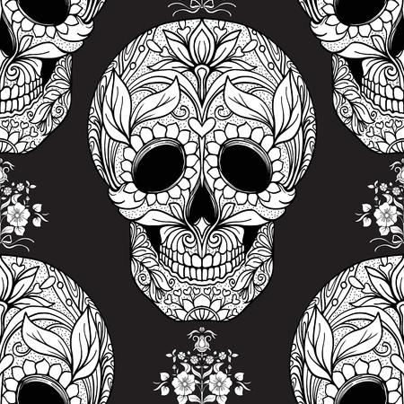 Naadloos patroon, achtergrond met suiker schedel en bloemen patter