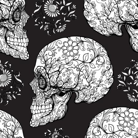 シームレスなパターン、砂糖の頭骨および花パターンと背景
