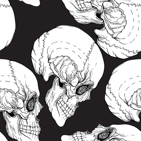 traditional culture: Seamless pattern, background with skull.