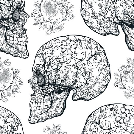 Patrón sin fisuras, fondo con cráneo de azúcar y patter floral Foto de archivo - 85995102