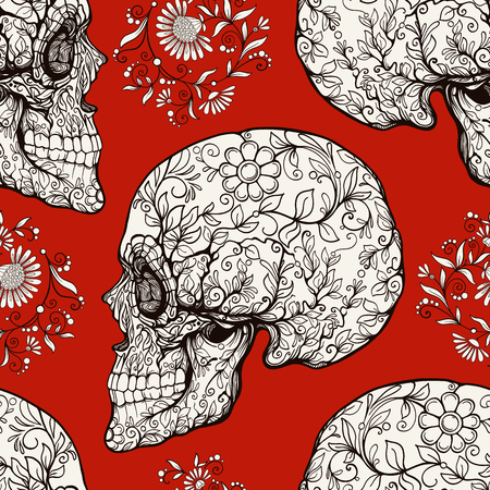 traditional culture: Seamless pattern, background with sugar  skull and floral patter