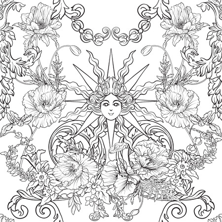 Seamless pattern with daffodils, anemones, violets in botanical vintage style with rococo decor. Outline hand drawing coloring page for adult coloring book. Stock line vector illustration. Stock Vector - 86090737