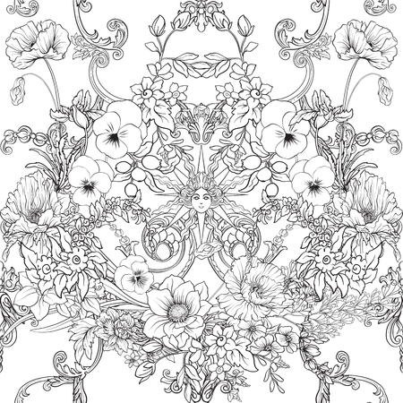 Seamless pattern with daffodils, anemones, violets in botanical vintage style with rococo decor. Outline hand drawing coloring page for adult coloring book. Stock line vector illustration. Illustration