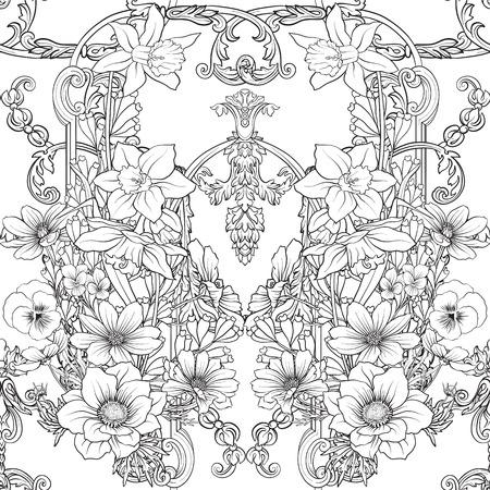 水仙、アネモネ、ロココ様式の装飾が施された植物のビンテージ スタイルのスミレのシームレスなパターン。手描きの大人の塗り絵の着色のページ