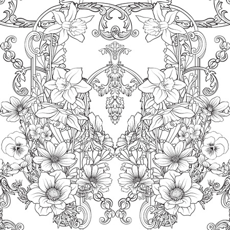 Seamless pattern with daffodils, anemones, violets in botanical vintage style with rococo decor. Outline hand drawing coloring page for adult coloring book. Stock line vector illustration. Фото со стока - 86090739