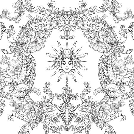 Modèle sans couture avec jonquilles, anémones, violettes dans un style vintage botanique à décor rococo. Page de dessin coloriage contour main pour cahier de coloriage pour adultes. Illustration vectorielle de stock line. Banque d'images - 86090740