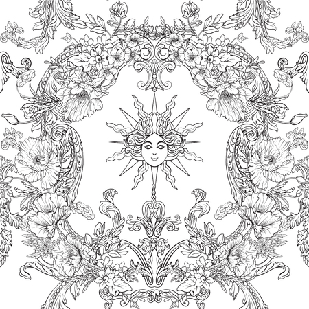 Seamless pattern with daffodils, anemones, violets in botanical vintage style with rococo decor. Outline hand drawing coloring page for adult coloring book. Stock line vector illustration. Stock Vector - 86090740