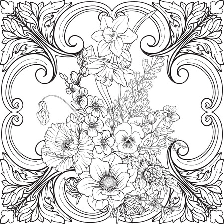 Seamless pattern with daffodils, anemones, violets in botanical Illustration
